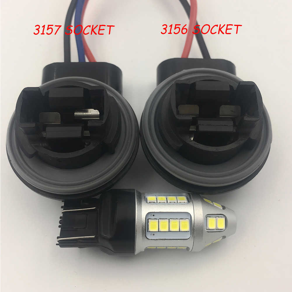 ysy 4pcs 3156 3157 3357 4157 car led bulbs lamp socket adapter connector harness wiring for [ 1000 x 1000 Pixel ]