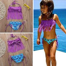 Летний купальный костюм с кисточками и лямкой на шее для маленьких девочек, купальный костюм, купальный костюм, танкини, комплект бикини