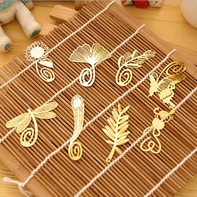 Gold Metal Bookmark 5pcs Choose from Sunflower, Snowflake, Palm Leaf or Dragonfly