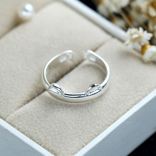 LicLiz 925 Silver Cat Ear Ring Cute Fashion Jewelry Cat Ring For Women Young Girl Child Gifts Adjustable Anel Wholesale LR0163