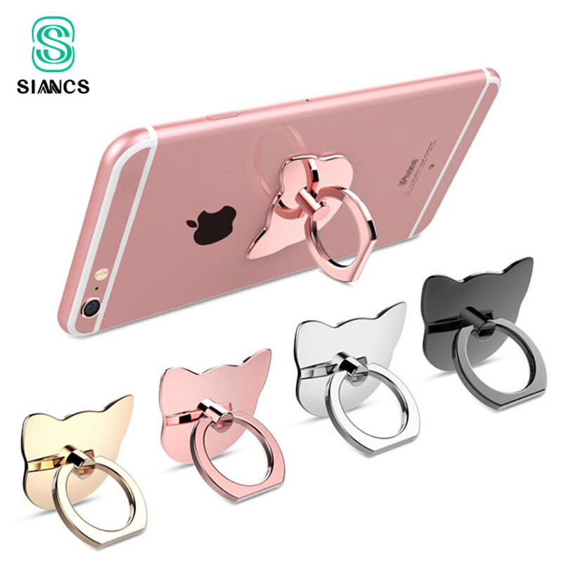 SIANCS 360 Degree Cat Ear Finger Ring Mobile Phone Holder Smartphone Stand Mount Support For IPhone IPad Xiaomi Smart Phone
