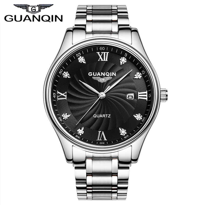 ФОТО GUANQIN GQ80007 2017 Quartz Watches Men Luxury Brand Big Dial Watches 100 m Waterproof Watches Fashion Casual Stainless Steel