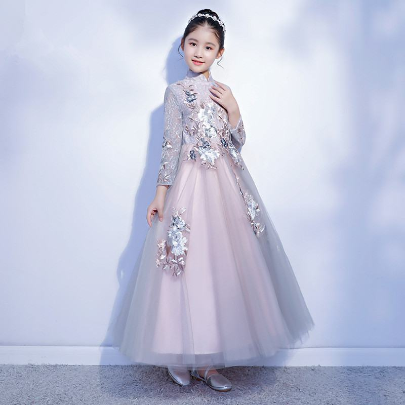 New Chinese Style Kids Girls Princess Embroidery Flower Dress Teens Girls Tulle Evening Dress Children Lace Elegant Vestido Q94New Chinese Style Kids Girls Princess Embroidery Flower Dress Teens Girls Tulle Evening Dress Children Lace Elegant Vestido Q94