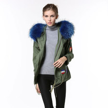 2016 spring women outerwear designs clothing army green women coats with blue raccoon fur collar hooded jacket