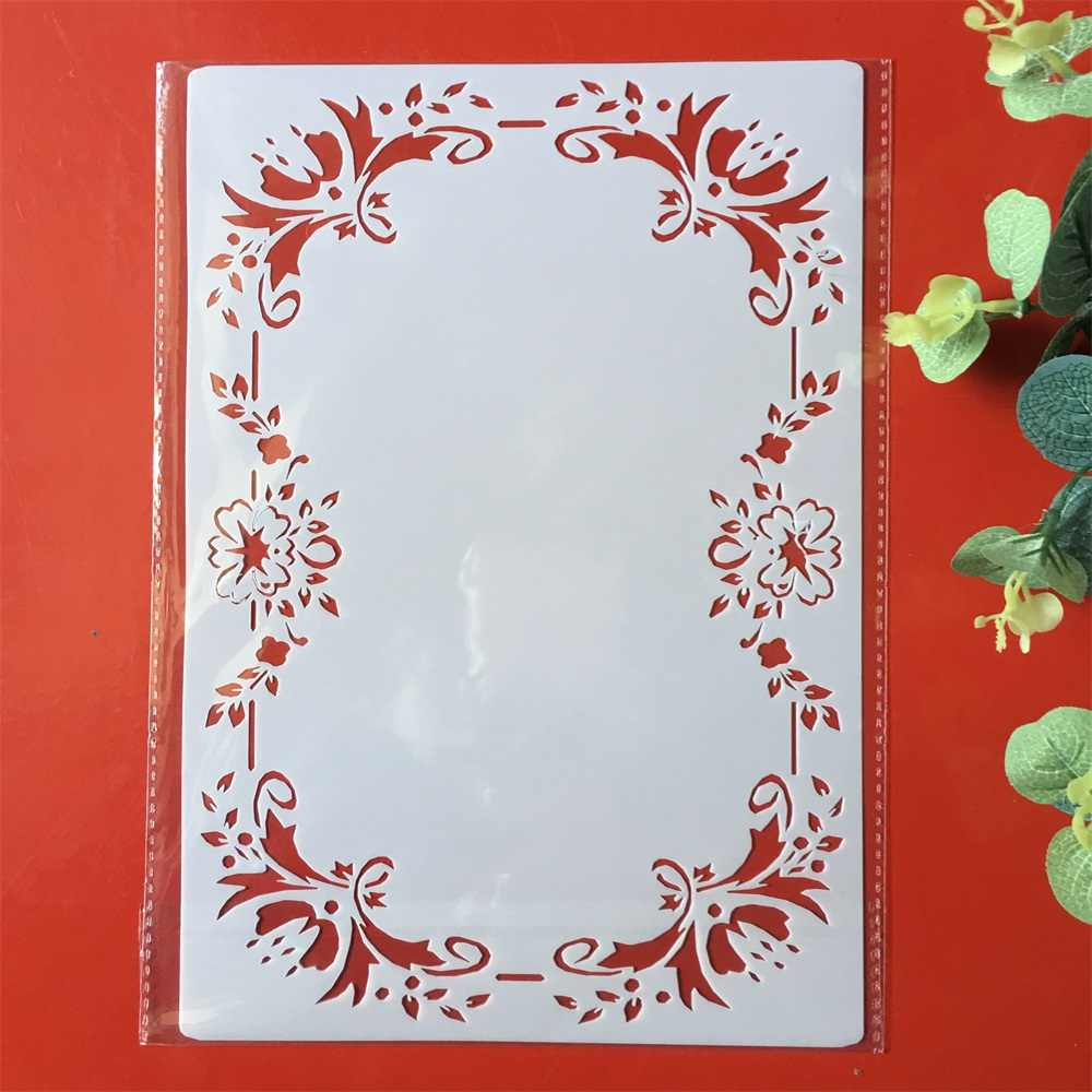 A4 Frame Border DIY Layering Stencils Painting Scrapbook Coloring Embossing Album Decorative Paper Card Template
