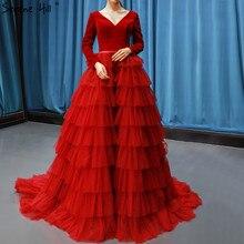2020 יין אדום קטיפה בציר ערב שמלות תמונה אמיתית V צוואר ארוך שרוולים שכבות ערב שמלות Serene היל 66792