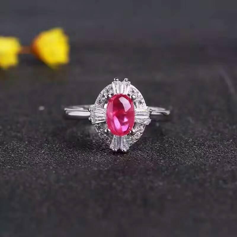 d8bb8f41e647 Natural rojo rubí joya anillo de piedras preciosas naturales 925 plata  esterlina de moda elegante Flor de girasol mujeres boda joyería