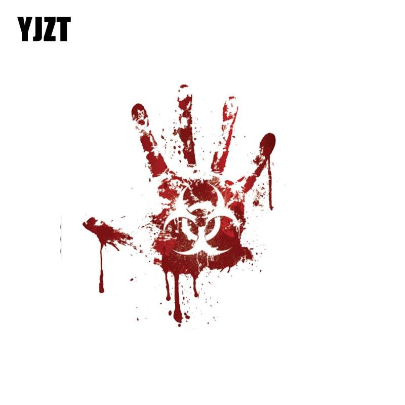 YJZT 12.2CM*15CM Bloody Handprint Biohazard Zombie Car Sticker Funny Decal PVC 12-0707