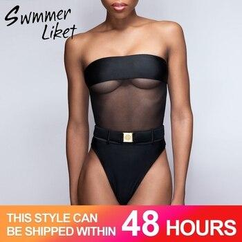 Đen gợi cảm thấy thông qua bikini đẩy lên Lưới cổ cao Áo bơi một mảnh Khóa đồ bơi 2019 Bandeau Áo tắm nữ biquini