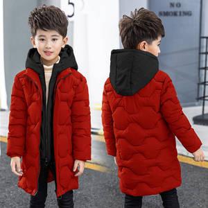 Image 4 - Boys cotton coat 2019 new childrens mens winter down jacket cotton child big child fake two cotton jacket thick coat