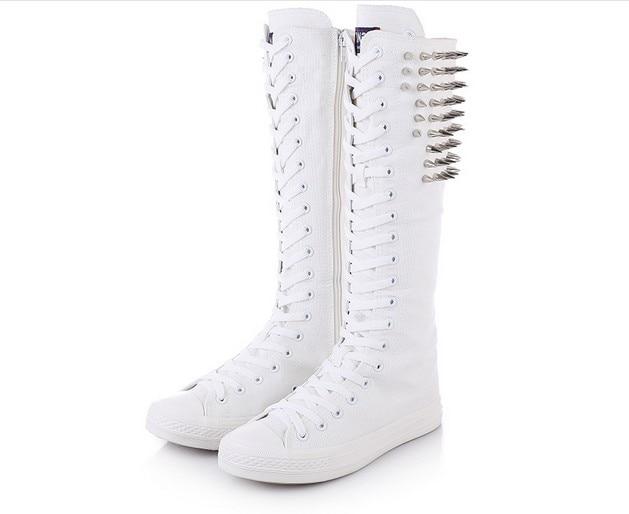 Femmes white Partie Dames Danse Increas Increas Mode Black De Blanc Club Mujer Chaussures Femme Height Plat Croissante Flat Toile black Rivet Bottes Hauteur Zapatos white Flat Sneakers e2D9WEHYI