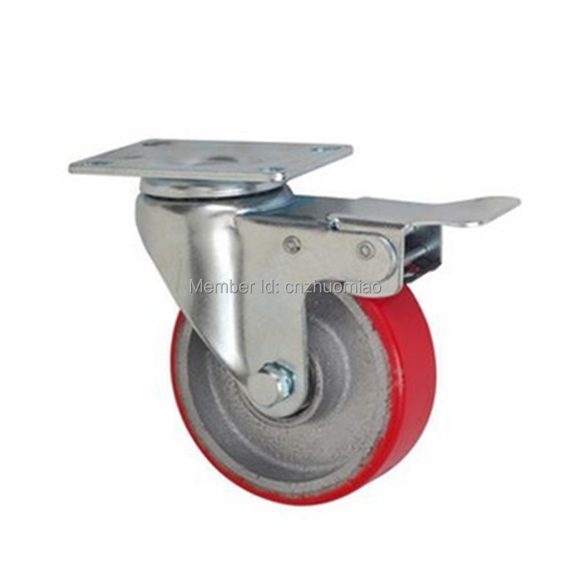 1PZ 2017 good selling medium duty caster rigid 3 inch pu Core PU brake caster 1pz 3 inch high quality wearable long working life fixed nylon medium duty caster and weel