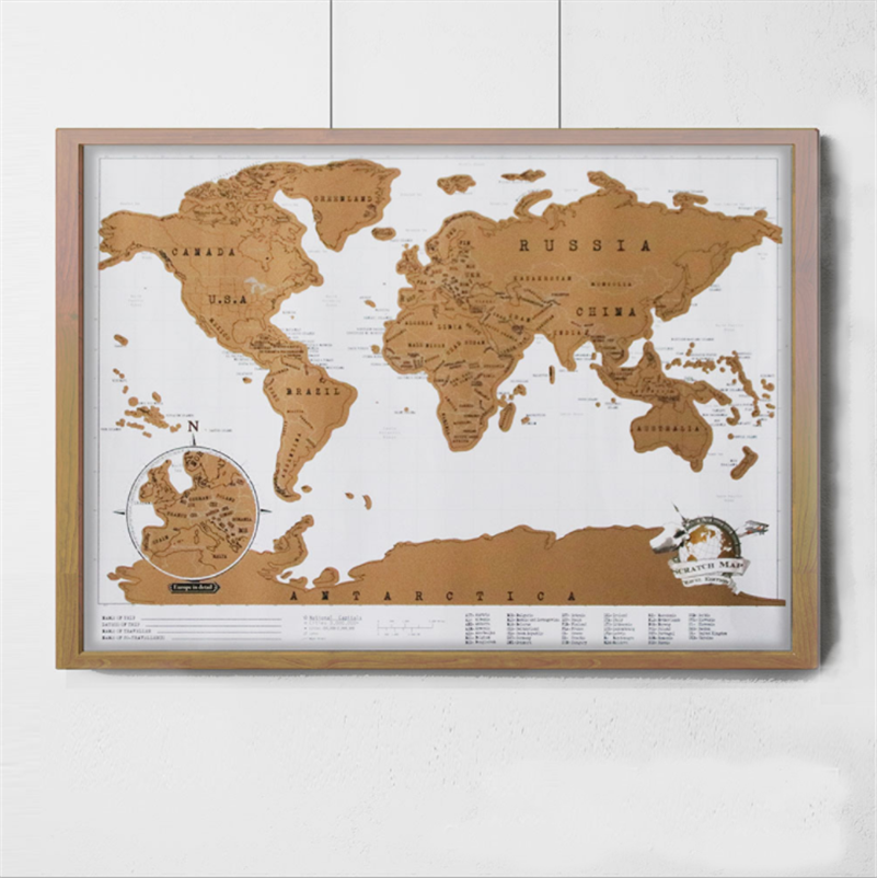 42x30cmnew Luxury Home Decor Deluxe Scratch Map Personalized