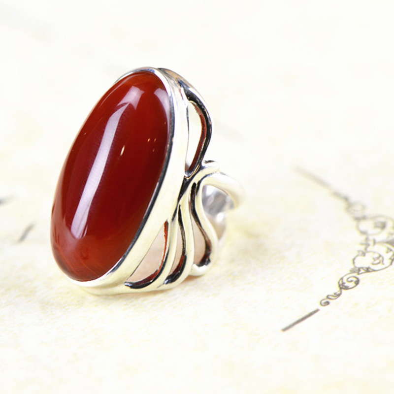 Authentic Silver 925 Ring Big Agate Red Stone Gifts For Women Natural Gemstone Elegant Fine Jewelry