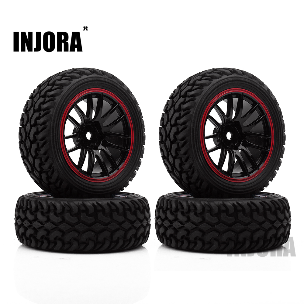 INJORA 70*30MM 4PCS Plastic Wheel Rim & Rally Tire for 1/10 RC Car Tamiya HSP HPI 4WD RC On Road Car universal replacement tire w wheel rim hub for 1 10 on road model cars black brown 4pcs
