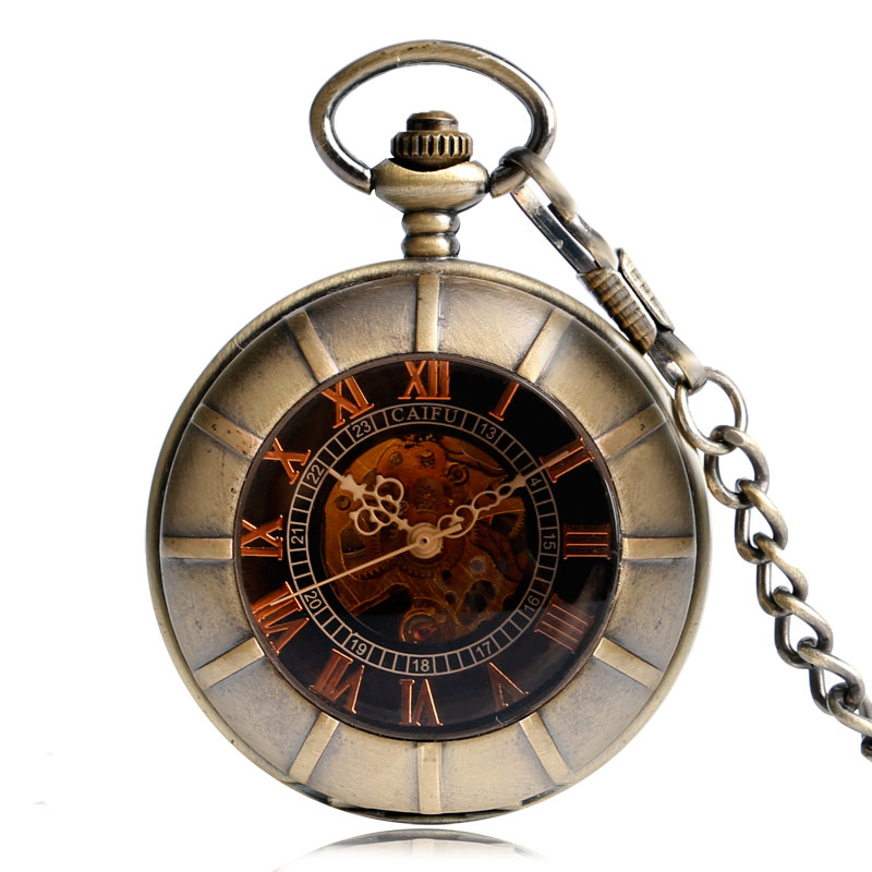 Antique Pocket Watch Transparent Steampunk Double Open Hunter Gear Mechanical Hand Wind Fob Time Hours With Chain Pendant Gift