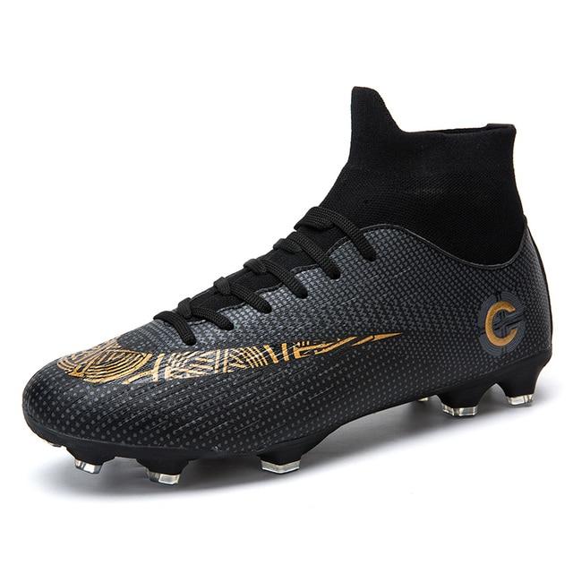 3c43839f35 Profissional dos homens Preto Alta Meias Tornozelo Longo Spikes Sapato Sapatos  Botas De Futebol Chuteiras de