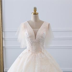 Image 4 - Fansmile vestido de boda de tul, Vintage, de fiesta de princesa, encaje de calidad, de talla grande, para novia, FSM 519F, 2020