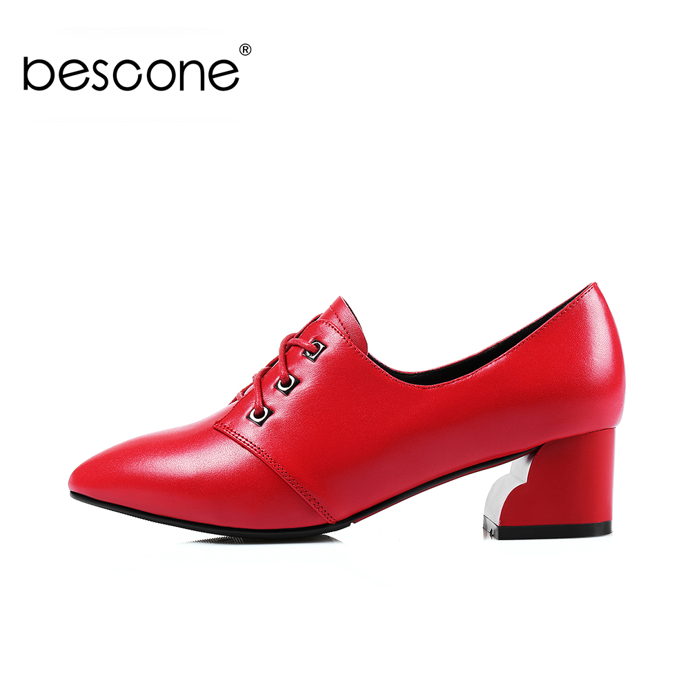 BENSCONE Brand Top Quality Pumps 2019 New Arrive Elegant job Women Shoes Spring Pointed Toe Square