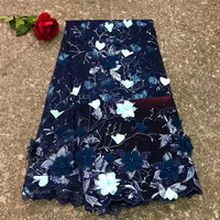 Burgundy Blue African French Tulle Lace Fabric, 3D Lace Fabric 2018 High Quality Lace, Beaded Wedding Dress Nigeria Lace F327 1