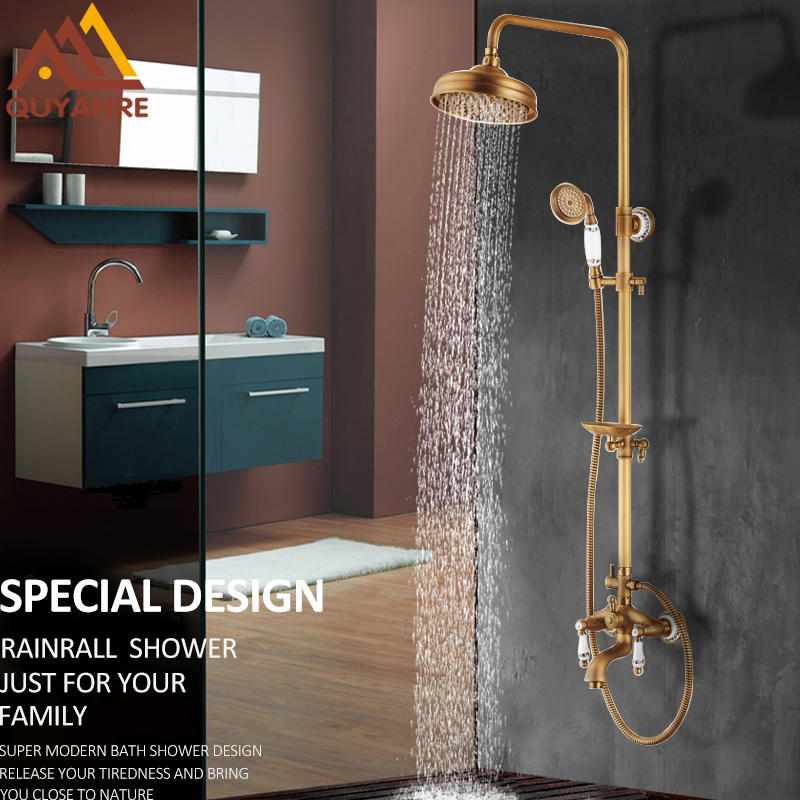Quyanre Antique Brass Bathroom Shower Faucets Set 8 Rain Shower Head Handles Mixer Tap With Soap Dish Bath Shower torneiras jade luxury bathroom soap rack rose gold copper soap net european style bathroom glass marble soap dish