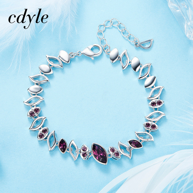 Cdyle Crystals from Swarovski Luxury Bracelet Women Bracelets   Bangle  Trendy Blue Purple Green Color Option def8a379e8da