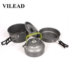 VILEAD Portable Camping Pot Pan Kettle Set Cookware Aluminum Alloy Outdoor Tableware 4pcs/Set Cooking tool Spoon Fork Knife недорого