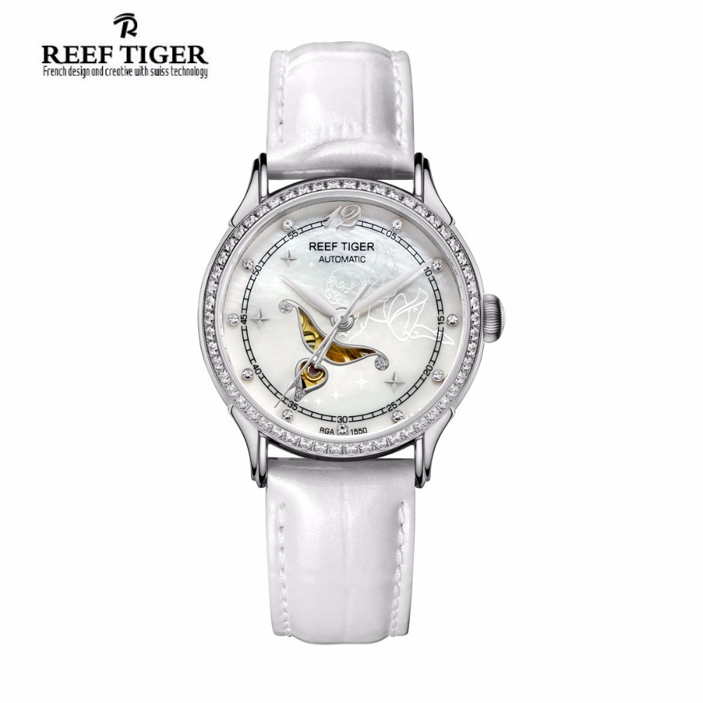 Récif Tigre Designer De Mode Diamants Automatique Montre avec Blanc MOP Cadran En Acier Montres Pour Femmes RGA1550