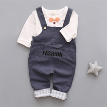 Baby boy cotton clothes set newborn toddler Gentleman suspenders pants cotton set  Baby clothing set 2 pcs /set