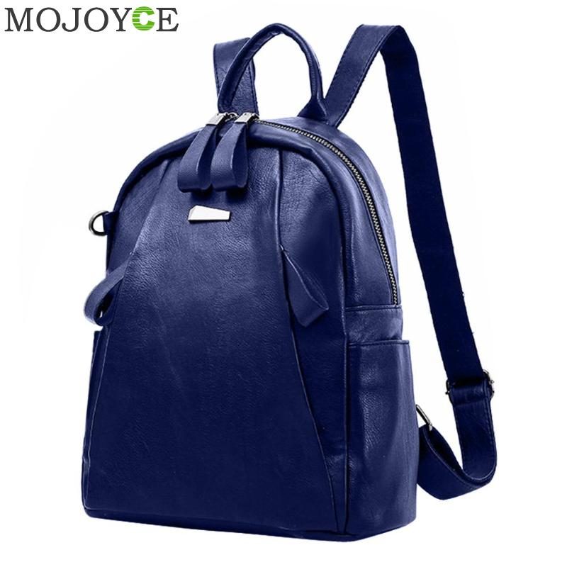 PU Leather Backpacks Women Solid Zipper Mochila Escolar School Bags For Teenagers Girls Travel Casual Shoulder Bag Blue Backpack zhierna brand women bow backpacks pu leather backpack travel casual bags high quality girls school bag for teenagers