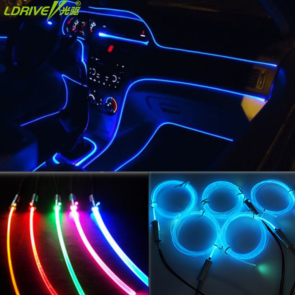 buy fashion 5pc lot car door optic fiber lights diy light decoration steering. Black Bedroom Furniture Sets. Home Design Ideas