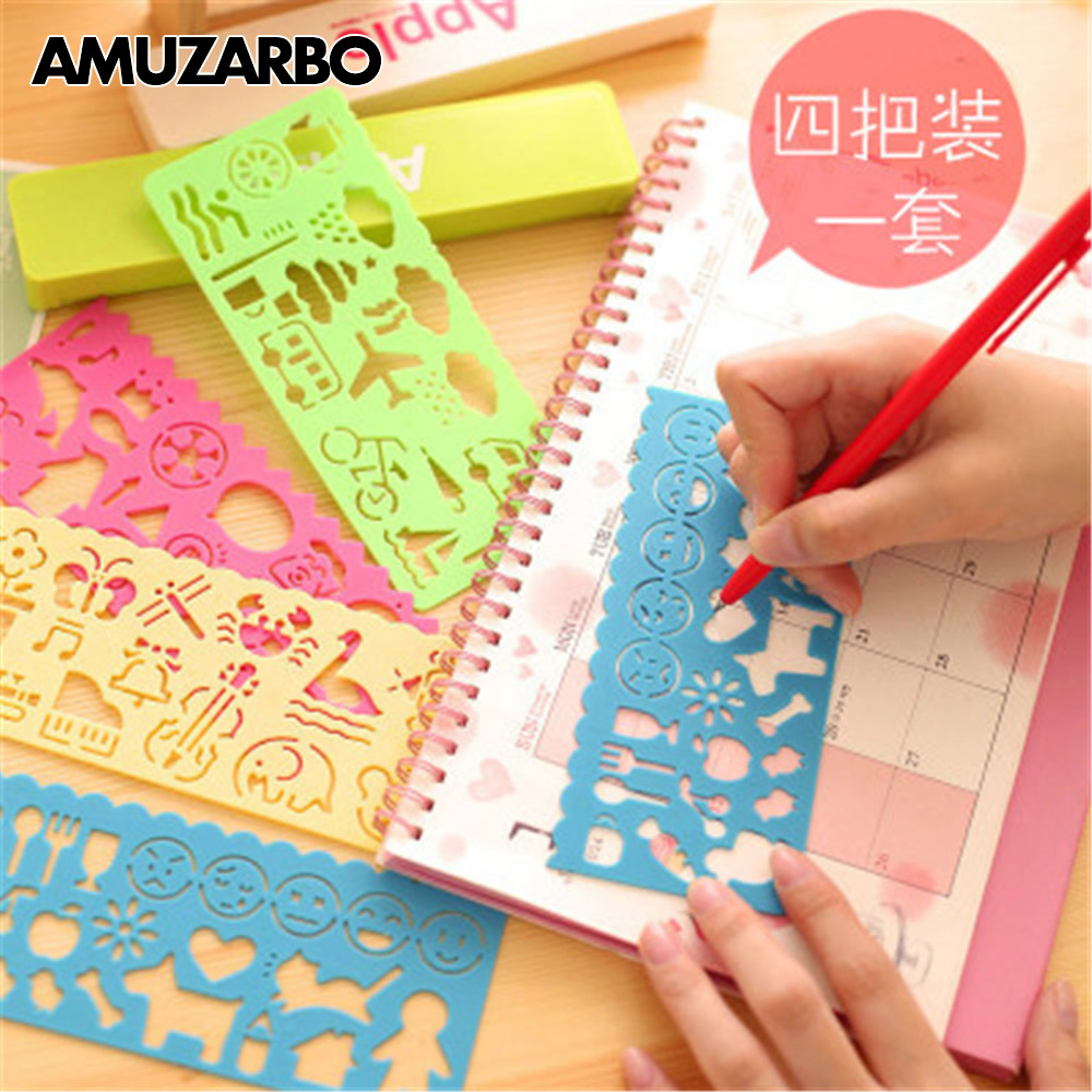 4 Pcs/set Graphics Symbols Students Creative Cartoon Wholesale Million Children Painting Painting Kit Template Ruler Stationery