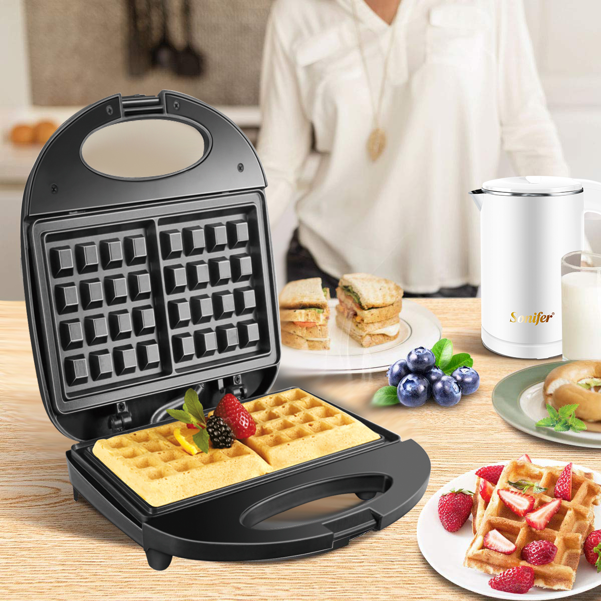 750W Electric Waffle Maker Machine With Double Sided Heating To Make Cake And Breakfast 4