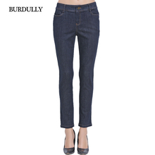 Autumn 2016 Skinny Jeans Woman Vaqueros Mujer Feminina Cintura Alta Pocket Cotton Women Casual Straight Jeans Trousers Big Size
