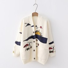 2018 Women Sweaters Embroidery Knit Cardigans Christmas Sweater V-Neck Casual Loose Outerwear Long