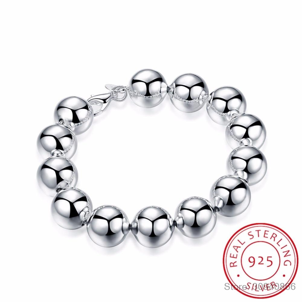 Women's Fine Jewelry Buddha Beads Bracelet 925 Sterling Silver Charm 14MM Hollow Lucky Beads Chains Bracelets Pulseiras Prata