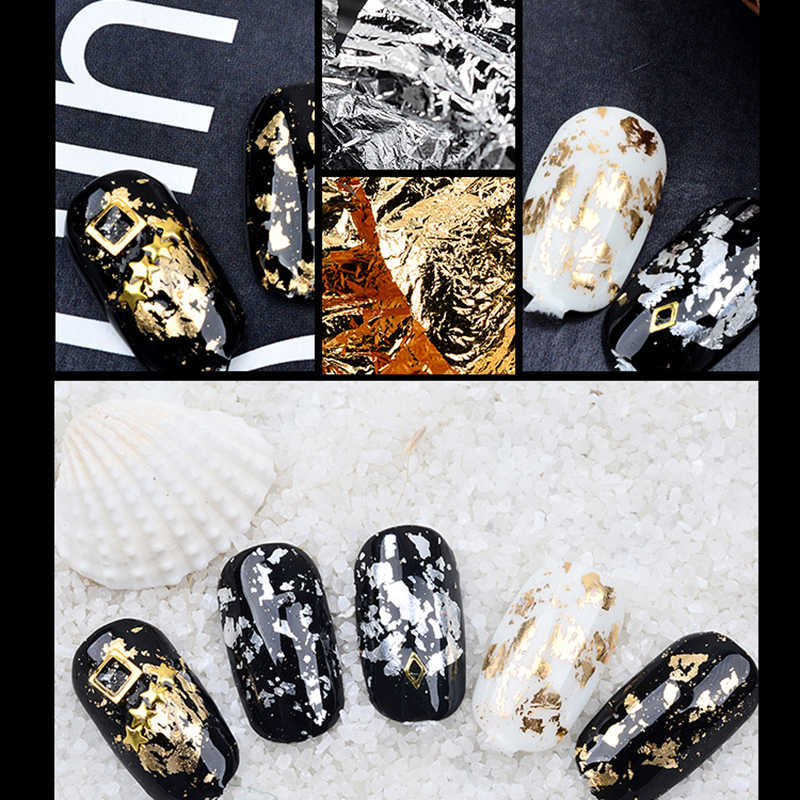 MOOBLET Gold Silver Glitter Aluminum Foil Paper DIY Magic Effect Sticker Sequins Nail Gel Polish Nail Art Decorations Manicure