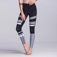 White Black print Women Fitness Tights Sport Leggings Yoga Pants Slim Running Gym Pants push up stripe Training Trousers 2017