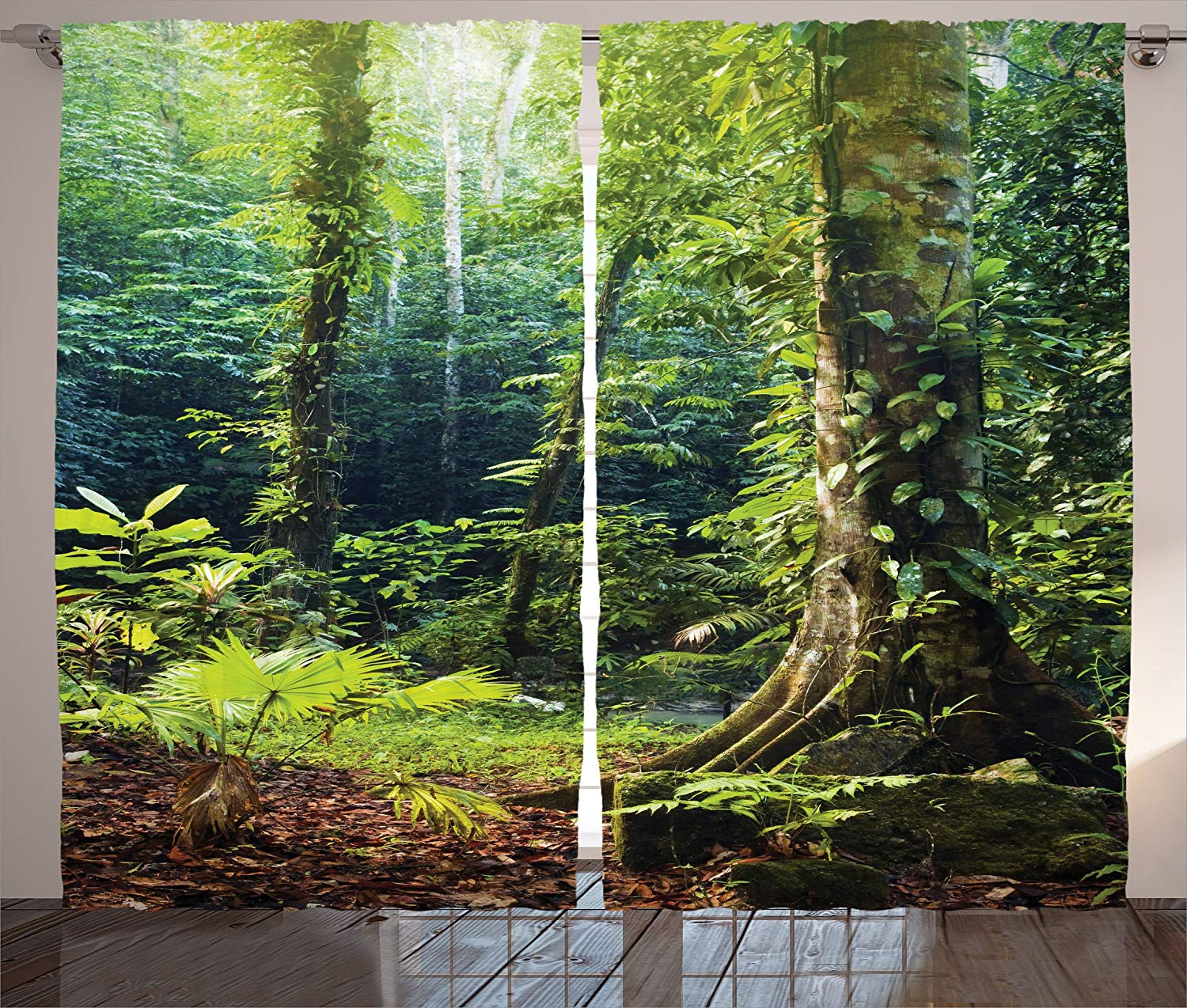 Classroom Decorations Rain Forest Curtains Morning Sunbeams Through Wild Ivy On Trees Tranquility In Nature Living Room Bedroom