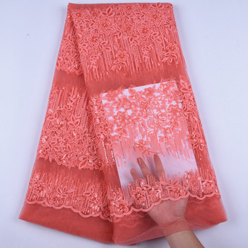 Latest Orange Color African Milk Silk Lace Fabric With Sequins High Quality French Tulle Lace Fabric For Dress Silk Fabric 1613
