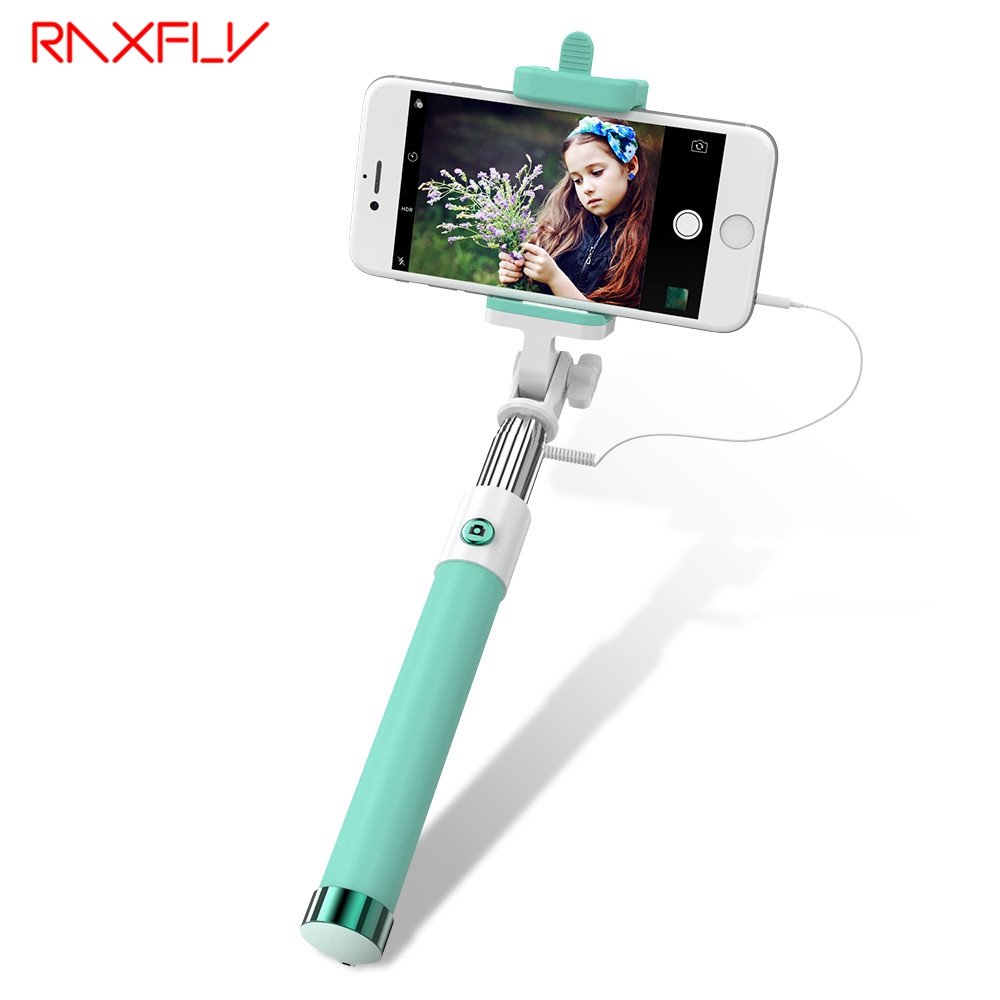 RAXFLY Universal Mini Selfie Stick With Button Wired Handle Extendable Monopod For iPhone 7 6s IOS Android Samsung Huawei Sticks super mini handy selfie stick universal handheld monopod self timer selfie pole for ios android black
