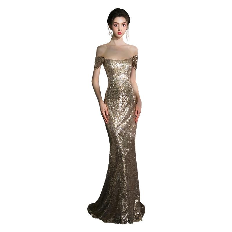 Beauty-Emily пикантные Блестки Золотые вечерние платья 2019 длинные для женщин Русалка Длинные Формальные Выпускные платья