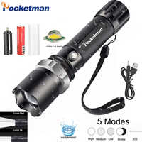 LED Flashlight Ultra Bright XML T6 Tactical Flash Light 5Modes Lanterna 5000LM Zoomable Waterproof 18650 Rechargeable Light z10