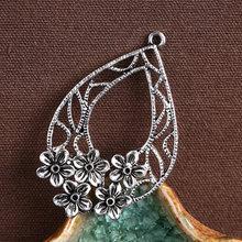 5 шт/лот винтажные тибетские серебряные полые подвески с цветком