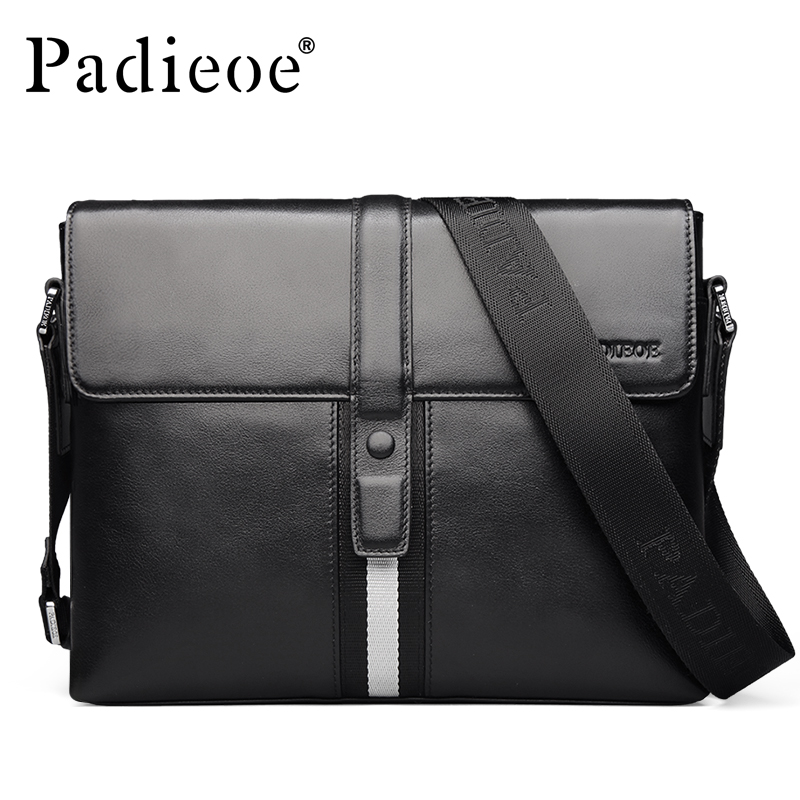 Padieoe Men's Genuine Leather Shoulder Bag Famous Brand Crossbody Bags Fashion Design Leisure Business Messenger Free Shipping