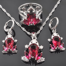 Frog Design For Women Rose Red Zirconia 925 Sterling Silver Jewelry Sets Necklace Pendant Earrings Ring QZ0317(China)