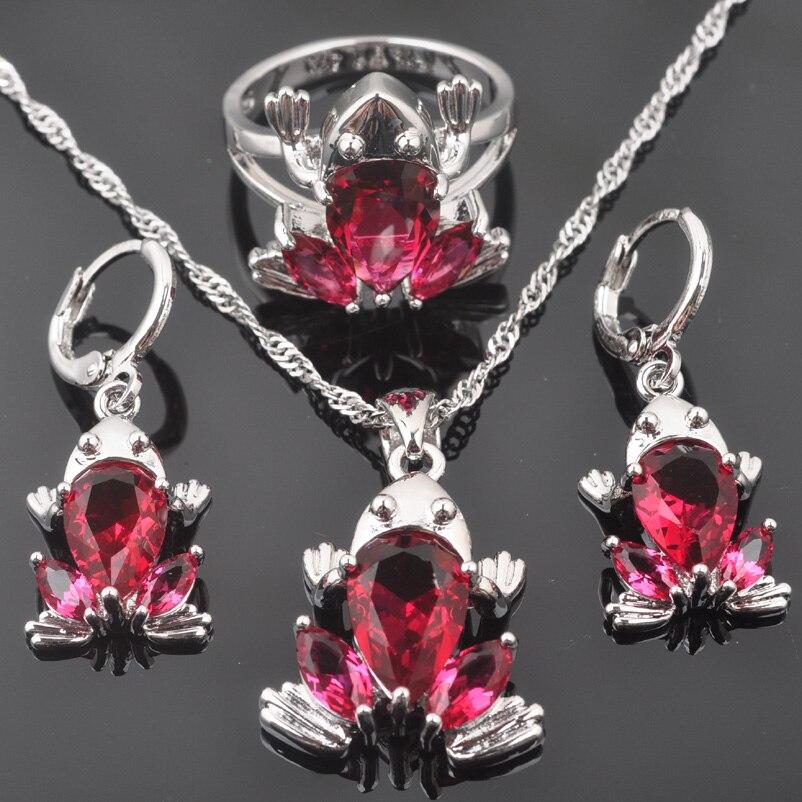 Frosch Design Für Frauen Rose Rot Zirkonia 925 Sterling Silber Schmuck Sets Halskette Anhänger Ohrringe Ring Qz0317 PüNktliches Timing Brautschmuck Sets