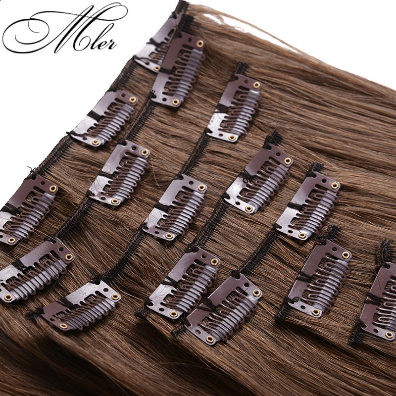 Color 6 Clip in Human Hair Extensions Malaysian Straight Human Hair Clip In Extensions 7pcs set
