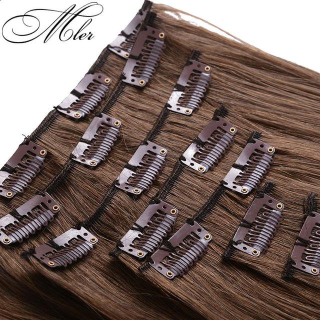 Cor 6 extensões de cabelo humano malaio reta grampo de cabelo em extensões 7 pçs/set 70 g Remy grampo de cabelo humano em