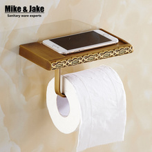 Antique brass bathroom paper phone holder with shelf bathroom Mobile phones towel rack toilet paper holder tissue boxes(China (Mainland))
